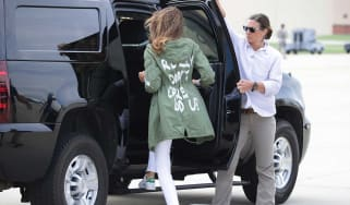 Melania Trump has been criticised for wearing a 'tone deaf' jacket