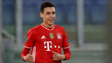 Jamal Musiala celebrates his goal for Bayern against Lazio in the Champions League