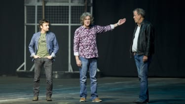 (From L) Richard Hammond, James May and Jeremy Clarkson of the British television series Top Gear during the Top Gear Live event, the first ever in Belgium, in Antwerp Sportpaleis on April 28
