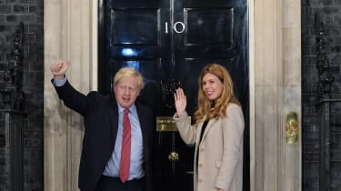 Boris Johnson and his fiancee Carrie Symonds in Downing Street