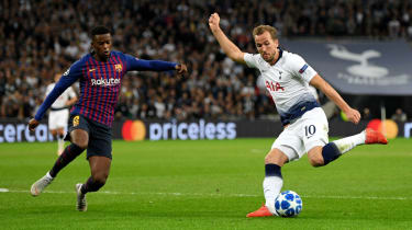 Tottenham striker Harry Kane in action against Barcelona in the Champions League in October