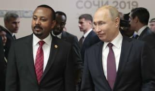 Vladimir Putin and Abiy Ahmed