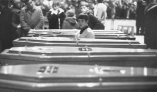Coffins of the victims after Bloody Sunday