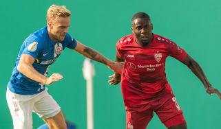 Belgian midfielder Orel Mangala (right) in action for German club VfB Stuttgart