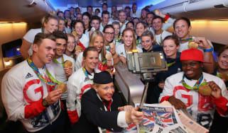 Gold medalists of Team GB pose for a selfie