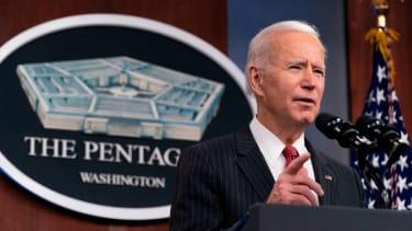 President Biden speaks at the Pentagon in February 2021