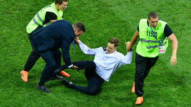 Pyotr Verzilov during a pitch invasion at the World Cup final in Moscow in July
