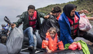 Refugees arriving in Lesbos, Greece, in 2015