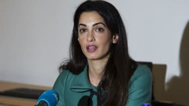 Lawyer Amal Alamuddin pictured during a press conference in London
