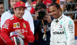 Ferrari's Charles Leclerc and Mercedes driver Lewis Hamilton