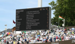 The scoreboard shows England's first innings total of 85 against Ireland at Lord's