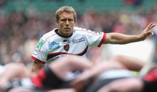LONDON, ENGLAND - APRIL 28:Jonny Wilkinson, the Toulon standoff, looks on during the Heineken Cup semi final match between Saracens and Toulon at Twickenham Stadium on April 28, 2013 in Londo