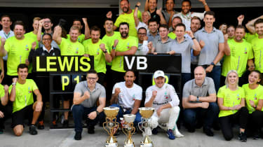 Lewis Hamilton, Valtteri Bottas and the Mercedes staff celebrate the one-two at the Russian GP