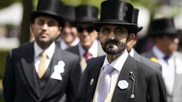 ASCOT, ENGLAND - JUNE 21:Sheikh Mohammed bin Rashid Al Maktoumm poses on day four of Royal Ascot at Ascot Racecourse on June 21, 2019 in Ascot, England. (Photo by Alan Crowhurst/Getty Images
