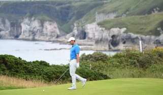 Rory McIlroy practices at Royal Portrush ahead of the 2019 Open