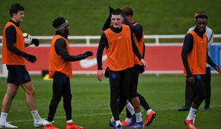 England players train ahead of the Euro 2020 qualifying match against the Czech Republic