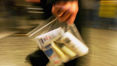 Liquid containers go through airport security