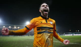 Newport County's Robbie Willmott celebrates the replay victory against Middlesbrough