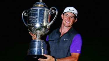 Rory McIlroy with the Wanamaker trophy