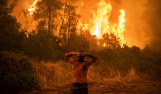 Firefighters battle ongoing wildfires in Greece