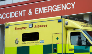 LONDON, ENGLAND - DECEMBER 09:An ambulance sits outside St Thomas' Hospital on December 9, 2013 in London, England. Some patients taken by ambulance to A&E departments are waiting in the vehi