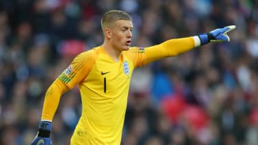 Everton goalkeeper Jordan Pickford in action for England at Wembley Stadium