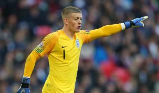 Everton goalkeeper Jordan Pickford in action for England at Wembley Stadium