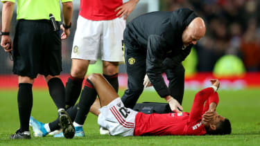 Man Utd and England striker Marcus Rashford was injured in the FA Cup game against Wolves