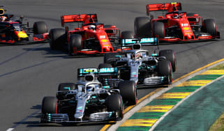 Mercedes drivers Valtteri Bottas and Lewis Hamilton race ahead of Ferrari duo Sebastian Vettel and Charles Leclerc