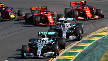 Mercedes drivers Valtteri Bottas and Lewis Hamilton race ahead of Ferrari duo Sebastian Vettel and Charles Leclerc