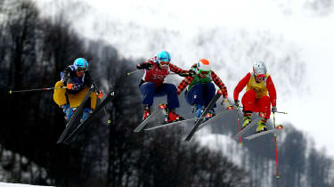 SOCHI, RUSSIA - FEBRUARY 21:(L-R) Anna Woerner of Germany, Kelsey Serwa of Canada, Georgia Simmerling of Canada, Fanny Smith of Switzerland compete in the Freestyle Skiing Womens' Ski Cross Q