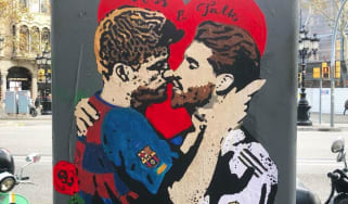 Tvboy's artwork of Gerard Pique and Sergio Ramos kissing calls for dialogue between Catalonia and Spain