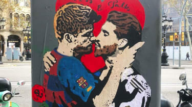 Tvboy's artwork of Gerard Pique and Sergio Ramos kissing calls for dialogue between Catalonia and Spain
