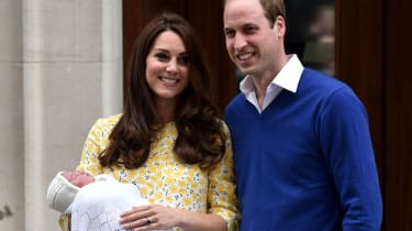 Kate Middleton, Prince William and Princess Charlotte outside the Lindo Wing in Paddington