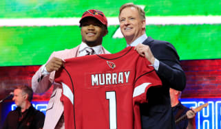 Kyler Murray with NFL commissioner Roger Goodell after being announced as the first pick in the first round of the NFL Draft
