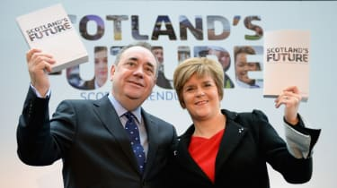 Nicola Sturgeon and Alex Salmond present the White Paper for Scottish independence in 2013