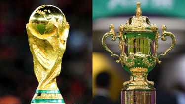 Football's Fifa World Cup and rugby union's Webb Ellis Cup trophies