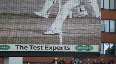 The big screen shows the no ball bowled by England spinner Jack Leach