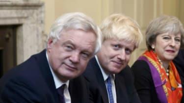 Brexit Secretary David Davis, Foreign Secretary Boris Johnson and Theresa May