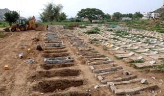 Graves for Covid-19 victims in Yemen