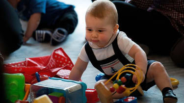 Prince George plays at an event in Wellington, New Zealand