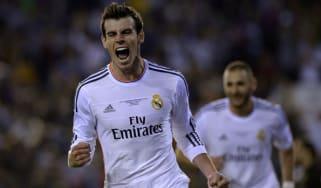 Gareth Bale celebrates scoring the winner in the Copa del Rey