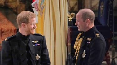 Prince William alongside Prince Harry at his wedding to Meghan Markle in 2018