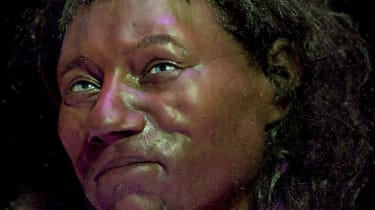 A reconstruction model made from the skull of a 10,000-year-old 'Cheddar Man' skeleton