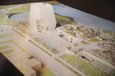 CHICAGO, IL - MAY 03:A rendering of the proposed Obama Presidential Center, which is scheduled to be built in nearby Jackson Park, is displayed at the South Shore Cultural Center during a rou