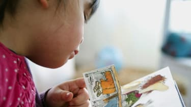 A young girl reads a children's book