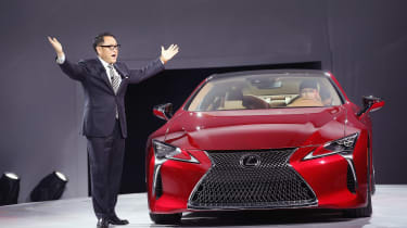 DETROIT, MI - JANUARY 11: Akio Toyoda, president and CEO of Toyota Motor Corporation, introduces the Lexus LC 500 coupe at the North American International Auto Show on January 11, 2016 in De