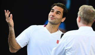 Roger Federer is interviewed after his victory over Tennys Sandgren at the Australian Open