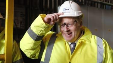 Boris Johnson in construction helmet