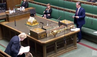 Keir Starmer rises to question Boris Johnson at the pair's first PMQs